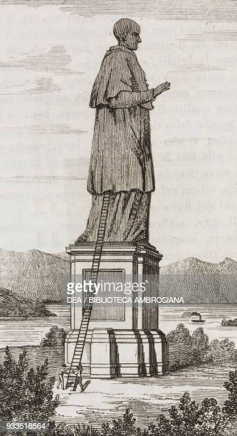 Colossal statue of St Charles Borromeo Arona Piedmont Italy engraving from L'album giornale letterario e di belle arti Saturday March 28 Year 2