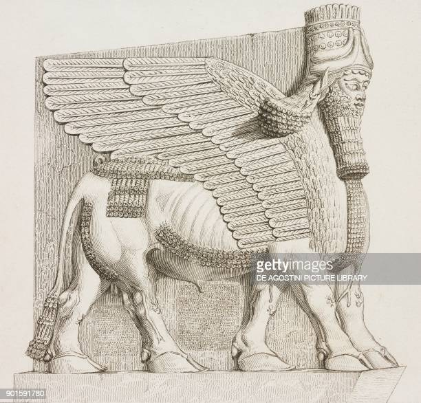 Colossal winged bull from Nineveh Mesopotamia Iraq at the Louvre Museum in Paris engraving by Lemaitre from Chaldee Assyrie Medie Babylonie...