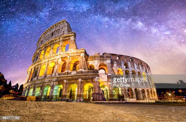 colosseo roma coliseum colosseum rome no people exterior night milkyway - roma stock photos and pictures