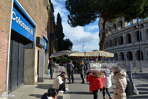 Colosseo station of the Rome metro is closed temporarily for inspections after a 5.6 magnitude earthquake struck in Rome on January 18 , 2017.