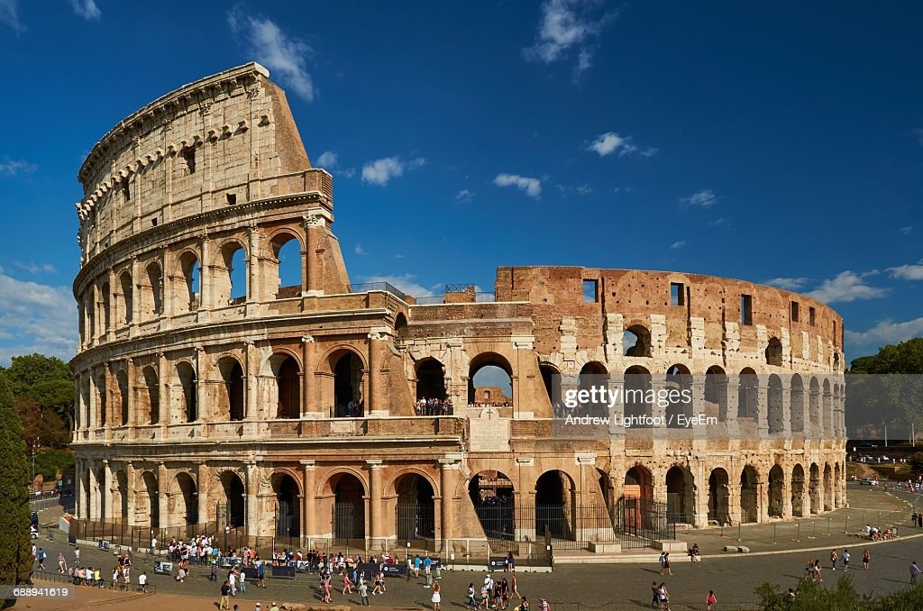 Colosseum Against Blue Sky : Stock Photo