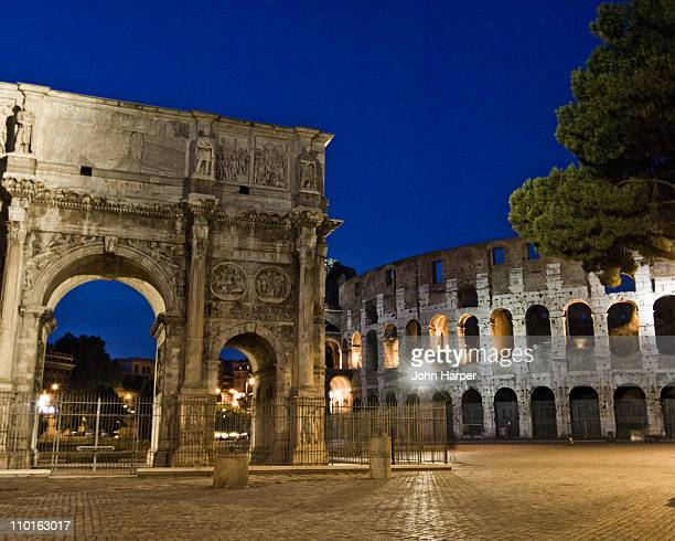 Colosseum and Arch of Constantine at twilight