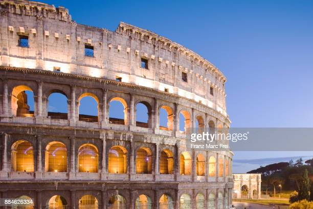 colosseum and arch of constantine, rome, lazio, italy - monument stock pictures, royalty-free photos & images