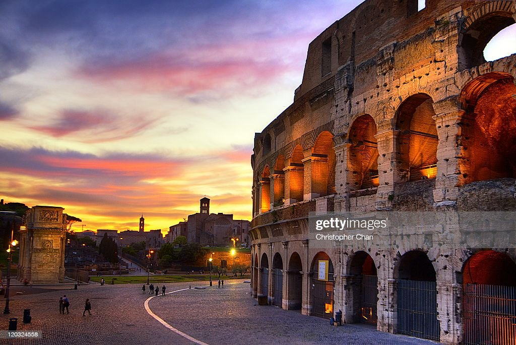Colosseum at sunset : Stock Photo
