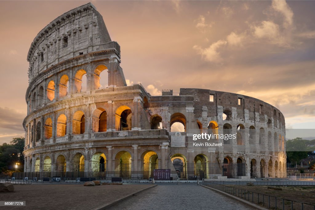 Colosseum in Rome at Sunrise : Stock Photo