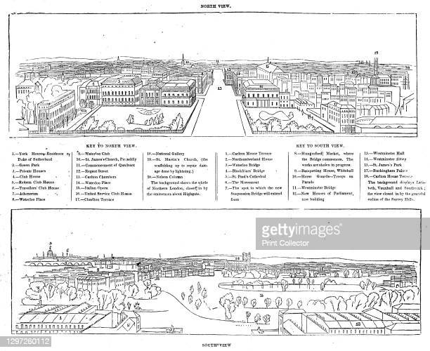 Colosseum print - north and south views, 1844. Panorama of London, one of a series made from daguerreotypes by Antoine Claudet, sketched by Henry...