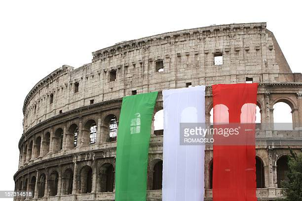 Colosseum with the Italian flag, Rome Italy