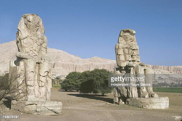 Colossus of Memnon Ramses II built by Amenophis III Luxor Egypt Created Circa 14171379 BCE