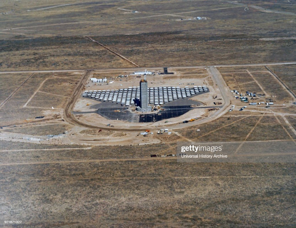 Colour aerial photograph of the US Department of Energy's Solar Thermal Test Facility at Scandia Laboratories. Dated 20th century.