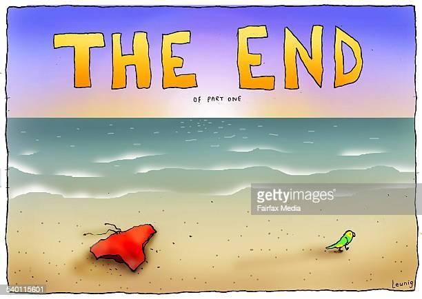 Colour cartoon / illustration by Michael Leunig titled 'The End of Part One' A pair of Tony Abbott's red Speedos / budgie smugglers abandoned on a...