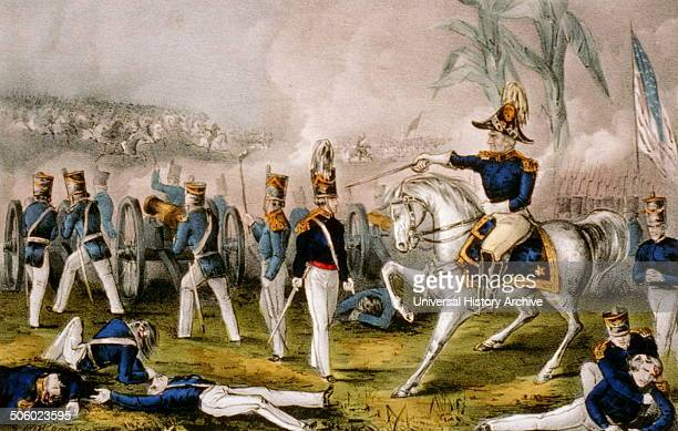 Colour Currier and Ives lithograph of General Taylor at the Battle of Buena Vista. Dated 1847 Photo by: