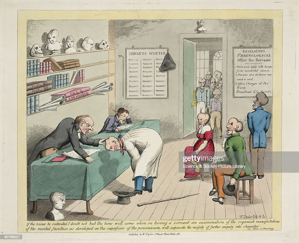 Colour etching by W Taylor satirising the work of Franz Joseph Gall and Johann Spurzheim, proponents of phrenology, showing a doctor examining a patient's head, whilst other patients with variously-shaped craniums await inspection. The Viennese physician Franz Joseph Gall (1758-1828) proposed that the contours of the skull followed the brain's shape, with each region responsible for an aspect of personality or behaviour. Feeling the lumps was like reading the mind. He called his system organology, but it later became known as phrenology, derived from the Greek word �phren� for mind. Phrenology never achieved the status of an accredited science, although the principle that many functions are localised in the brain is now widely accepted.