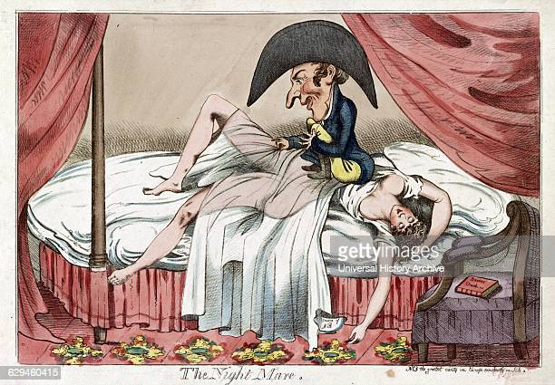 Colour etching entitled 'The Nightmare' This cartoon shows a scantily clad woman asleep on a bed a little man sitting on her chest pulling back her...