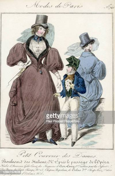 Colour fashion illustration showing a ladies dark brown coat with a tightly corseted waist, the coat features a wide, draped skirt, dramatic gigot...