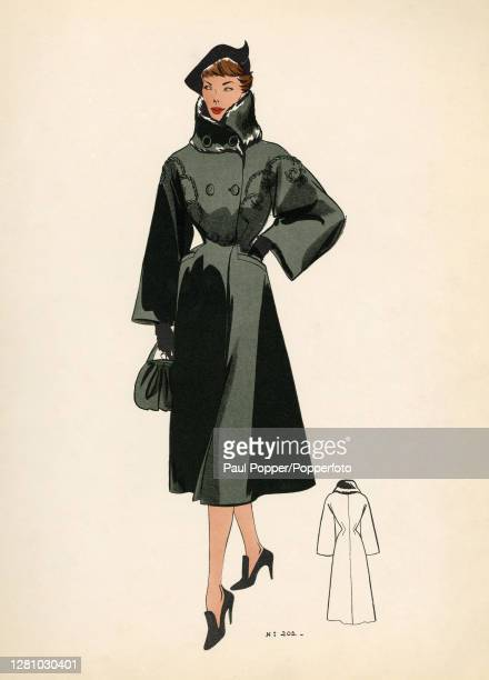 Colour fashion illustration showing a ladies winter coat design the black coat falls below the knee with a fitted waist and wide sleeves it is...