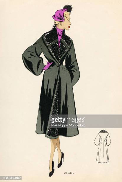 Colour fashion illustration showing a ladies winter coat design the dark grey coat falls below the knee with a fitted waist and long bishop sleeves...