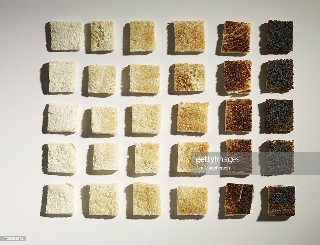 Colour grid chart made of toast : Stock Photo