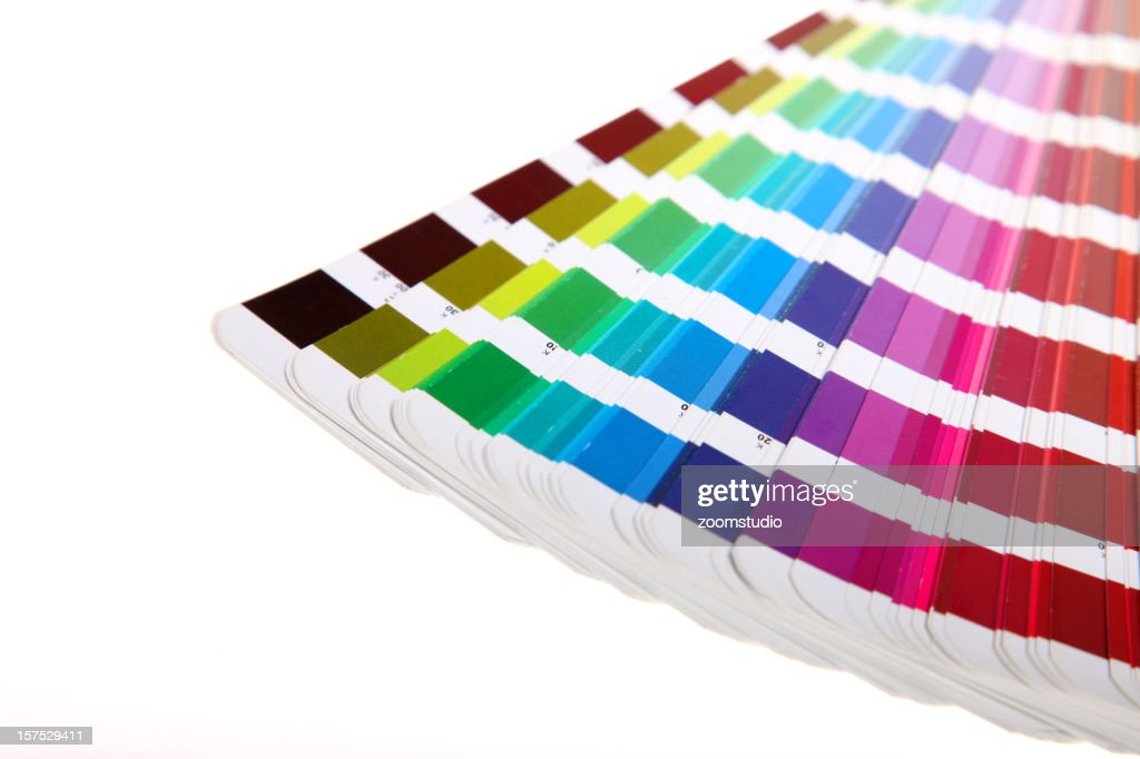 Colour guide - pantone swatch book on white : Stock Photo