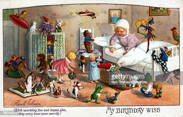Colour illustration Birthday card circa 1915 Childrens toys scattered around the bedroom as a girl is pictured in bed