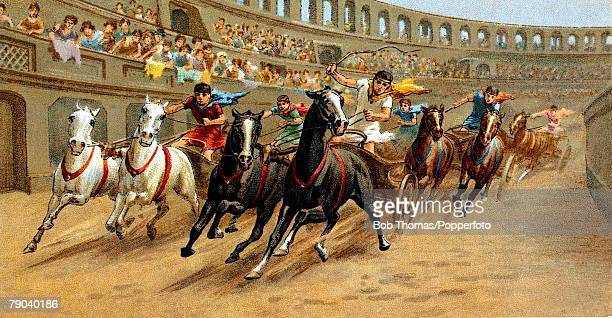 Colour illustration Cigarette card Chariot Racing card produced circa 1900 Roman chariot racing shows pairs of horses in one of the famous...