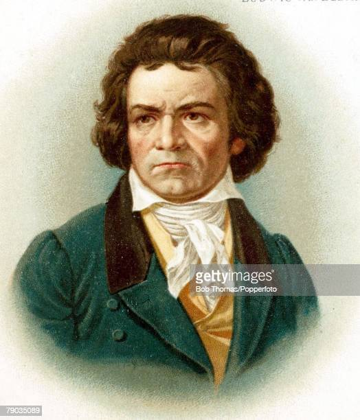 Colour illustration Composers Ludwig van Beethoven German composer Portrait