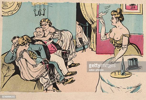 Colour illustration depicting a scene in a brothel France circa 1900