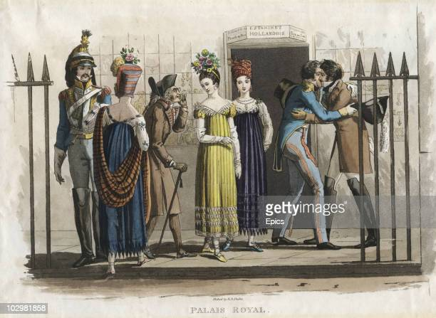 A colour illustration depicting men and women outside the Palais Royal France circa 1800