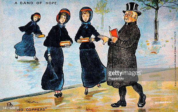 A colour illustration depicting Salvation Army women accosting a clergyman for a donation circa 1910