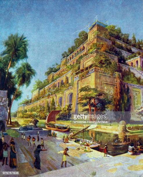 Colour illustration depicting the Hanging Gardens of Babylon, one of the Seven Wonders of the Ancient World. Dated 19th Century.