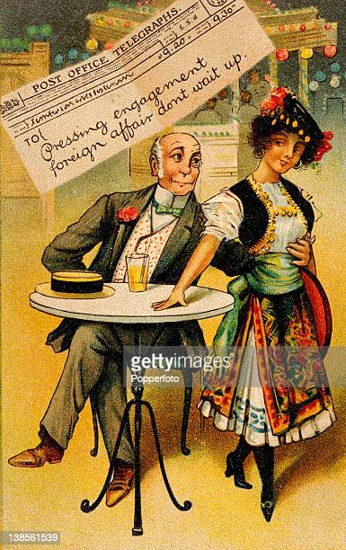 Colour illustration featured on a humourous postcard involving an older gentleman a foreign woman a telegram and double entendre circa 1910