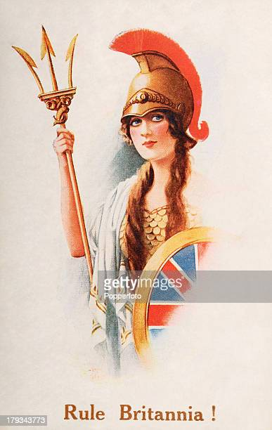 A colour illustration featuring Britannia the female personification of the British Isles with her helmet trident and Union Jack shield used as...