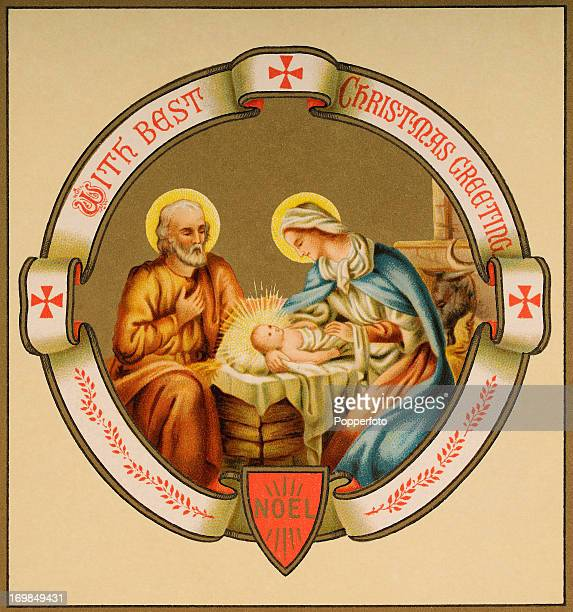 A colour illustration featuring the birth of Jesus and Christmas greetings circa 1900