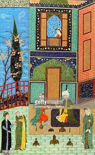 Colour illustration from 'The illuminated manuscript Khamsa of Nizami' a 12th Century a lavishly illustrated manuscript of the Khamsa or five poems...