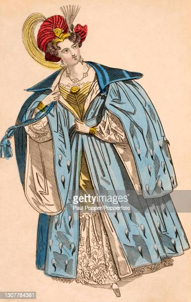 Colour illustration from The Ladies Cabinet , showing a woman dressed for the opera, she wears a yellow and white low cut gown, and a full length...