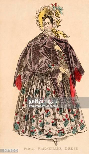 Colour illustration from The Ladies Cabinet , showing a woman wearing a brocade, floral print Public Promenade dress, it is worn with a short purple...