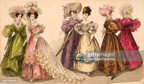 Colour illustration from The Royal Ladies Magazine showing a group of six women wearing silk gowns in the French fashion, including low cut...