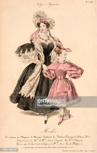 Colour illustration from The Royal Ladies Magazine showing a woman and a child wearing French fashions, the woman wears an embroidered black crepe de...