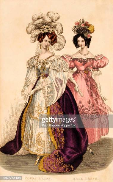 Colour illustration from The Royal Ladies Magazine showing two women wearing French fashions, one wears an elaborate court dress in white silk with...