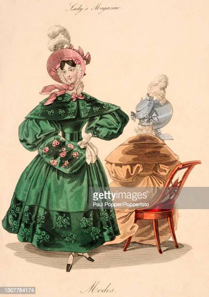 Colour illustration from The Royal Ladies Magazine showing two women wearing French fashions, one wears a green satin belted coat with leg of mutton...