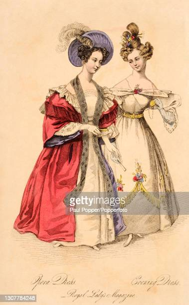 Colour illustration from The Royal Ladies Magazine showing two women wearing French fashions, one is dressed for the opera and wears a white evening...