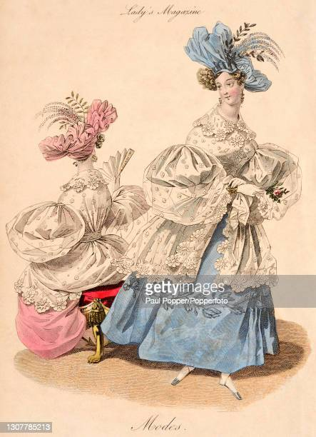 Colour illustration from The Royal Ladies Magazine showing two women wearing French fashions, one wears an embroidered blue silk dress with leg of...