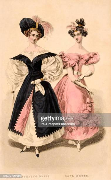 Colour illustration from The Royal Ladies Magazine showing two women wearing French fashions, one wears a white silk evening gown with elaborate leg...