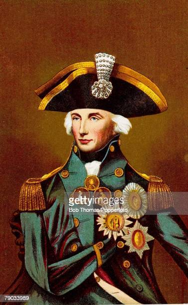 Colour illustration Military Lord Nelson English Admiral Illustration shows the one armed Lord Nelson after he lost his right arm in 1797 in the war...