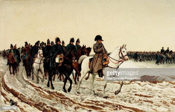 Colour illustration Military Napoleon Bonaparte at the head of the French army in the retreat from Moscow 1812