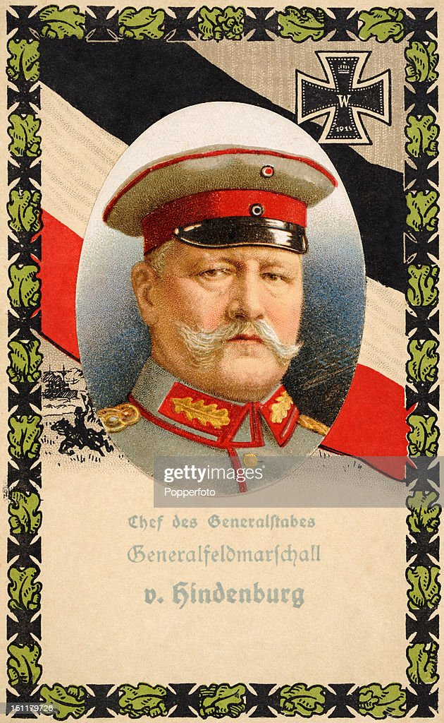 Colour illustration of Field Marshal Paul von Hindenburg, Germany's Chief of the General Staff during World War One and the second President of Germany, circa 1918.