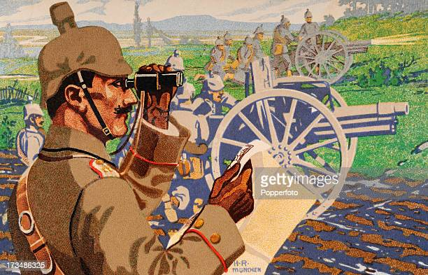 A colour illustration of German soldiers with cannons on the battlefield during World War One circa 1917