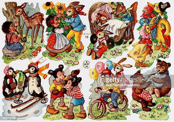 A colour illustration of some animal cartoon characters playing happily together
