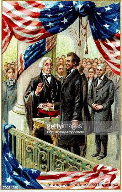 Colour illustration Politics Abraham Lincoln 16th President of the United States Illustration shows the inaugaration of Abraham Lincoln in 1861