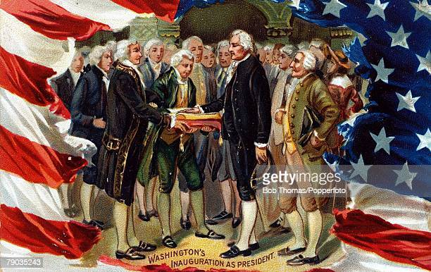 Colour illustration, Politics, George Washington, ,1st President of the United States, pictured at the inaugaration ceremony, 1789