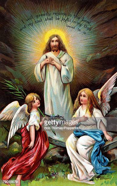 Colour Illustration Religion Biblical scene The resurrection of Lord Jesus Christ with two small angels with him